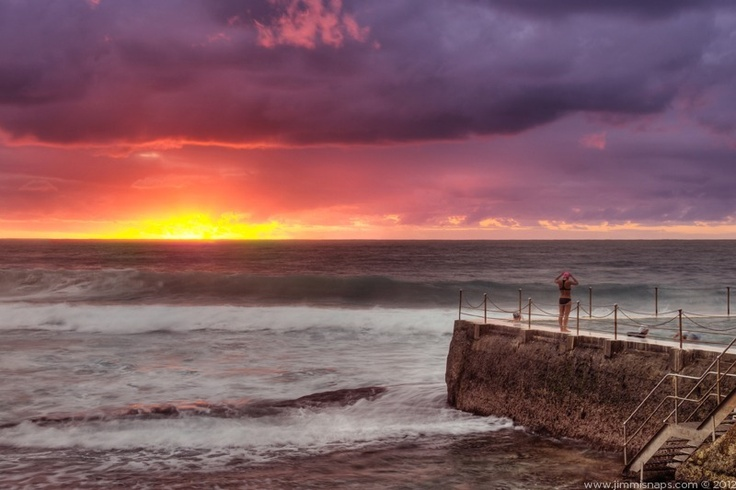 Pinky - Bondi beach fiery sunrise.  This subtle HDR photo is available to buy, just follow the link.