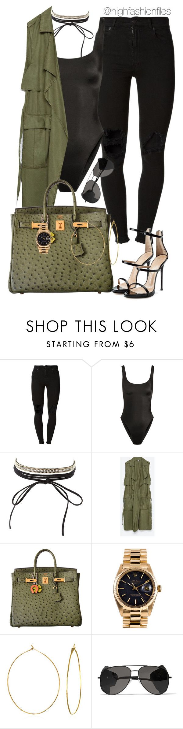 """""""Untitled #2650"""" by highfashionfiles ❤ liked on Polyvore featuring (+) PEOPLE, Norma Kamali, Charlotte Russe, Zara, Hermès, Rolex, Phyllis + Rosie, Yves Saint Laurent and Giuseppe Zanotti"""