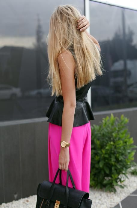 long and blonde: Fashion, Style, Pink Pants, Hot Pink, Hair, Peplum Top, Black, Leather Peplum, Blunt Cut