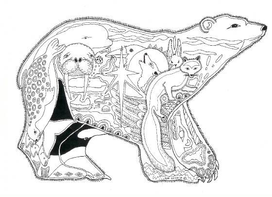 "Week 2: ""Winter Animals Theme"" coloring page for activity center"