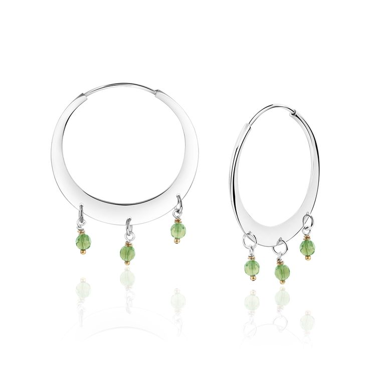 Gypsy luxe earring, sterling silver embellished with green quartz and gold plated twists.$149