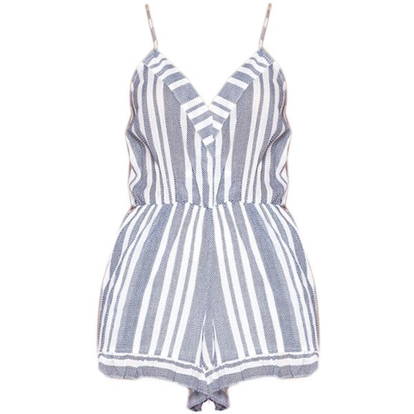Lovers Friends Amelia Romper (1.460 NOK) ❤ liked on Polyvore featuring jumpsuits, rompers, dresses, playsuits, blue and white romper, striped romper, playsuit jumpsuit, cotton jumpsuit and cotton rompers