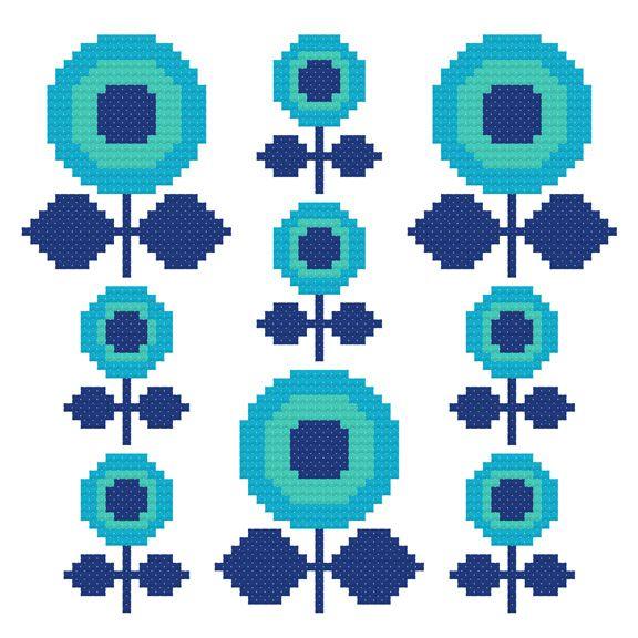 Make a Wish Cross-Stitch Pattern by Hollie Harris modern mid-century flowers