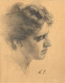 Artwork by Nicolai Fechin, Profile of a woman, Made of charcoal and graphite on beige paper highlighted with white under glass