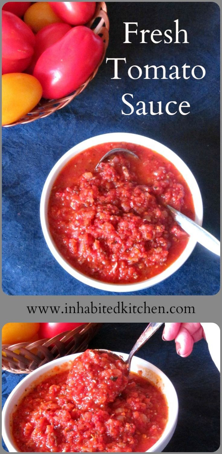 When you have tomatoes but no time, try the Lazy Cook's Fresh Tomato  Sauce! It's simple, easy, fast, but keeps the wonderful fresh flavor of  your tomatoes.