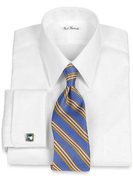 Paul fredrick men 39 s cotton pinpoint oxford straight collar Straight collar dress shirt