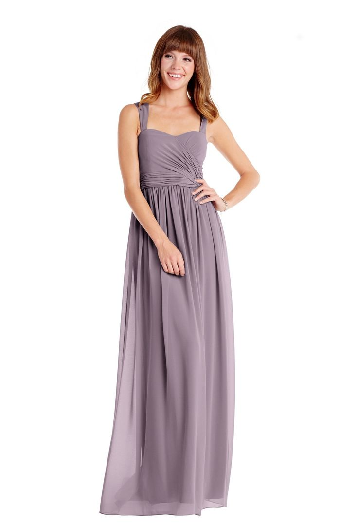 Donna Morgan 'Bailey Dress' in Grey Ridge. This gown features a pleated floor-length skirt in stunning chiffon. This darling long style features wide straps to provide extra support, a sweetheart neckline, and ruched bodice. Discover more bridesmaid dresses to rent at vowtobechic.com