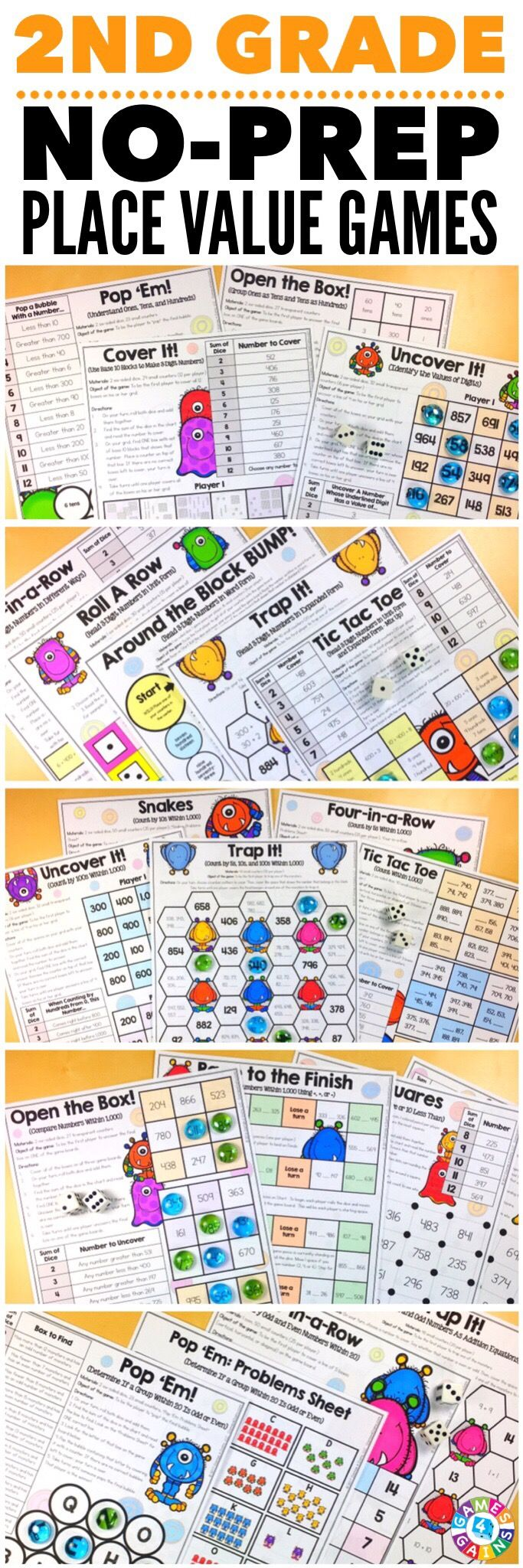 """Kids are LOVING these games during rotation time to reinforce standards."" This 2nd Grade Place Value Games Pack includes 21 differentiated games for practicing reading 3-digit numbers in different forms, counting within 1,000, skip counting by 5s, 10s, and 100s, comparing 3-digit numbers, identifying even and odd numbers, and much more! These games support the 2nd grade CCSS place value standards {2.NBT.1, 2.NBT.2, 2.NBT.3, 2.NBT.4, 2.NBT.8, 2.OA.3}."