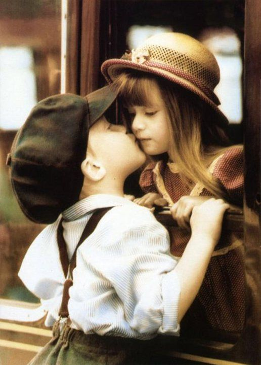 Cute love :) litle boy and girl wearing hats