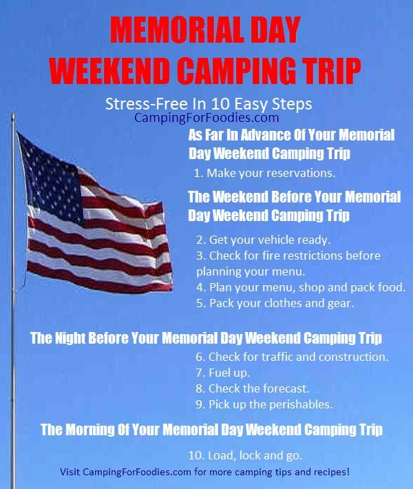 10 Easy Steps For A Stress Free Memorial Day Weekend Camping Trip
