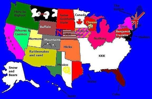 Redneck Map Of Us Pin on redneck