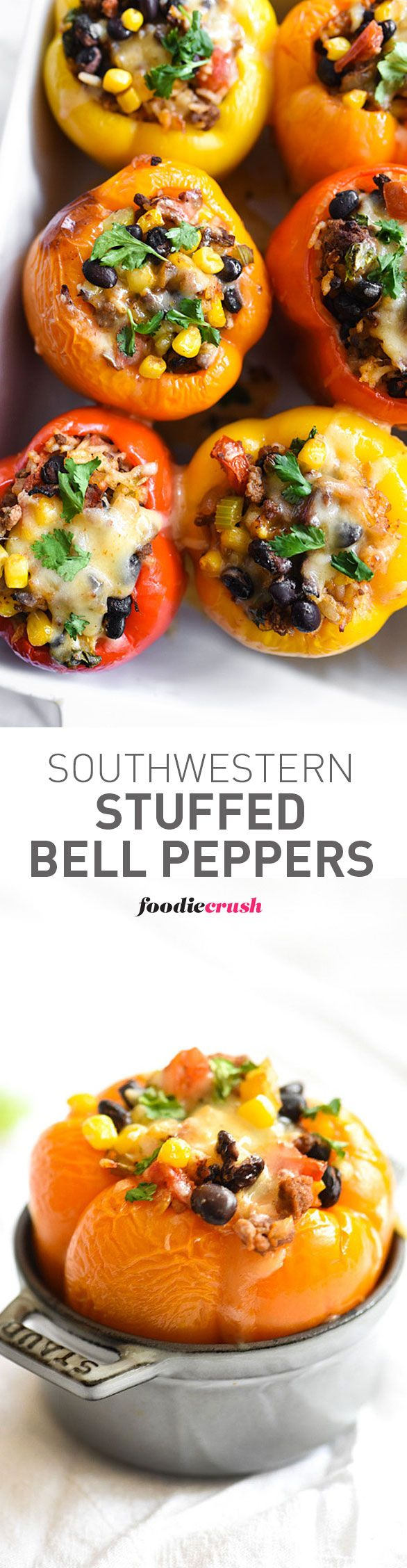 Multi-color peppers make the Southwest flavors of this recipe a healthy family favorite dinner | foodiecrush.com