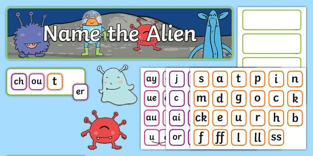 Phase 2, 3 and 5 Phonics 'Name the Alien' Interactive Display Pack - EYFS, Reception, KS1, Year 1, Year 2, Phonics, English, Reading, Phase 3, Letters and Sounds, Real W