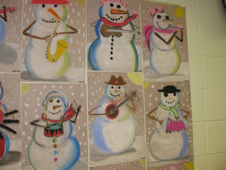 """Musicians of the Night"", Picasso inspired, pastel shading, snowman study, gr. 5"