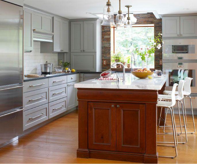 Corner Kitchen With Island: Appliance Garage Under Corner Cabinet; Island Seating