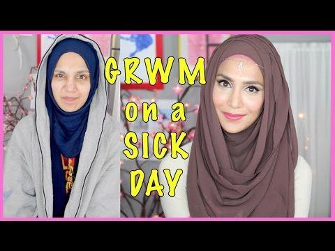 MY SICK DAY MAKEUP & HOOJAB STYLE! GRWM   Amenakin