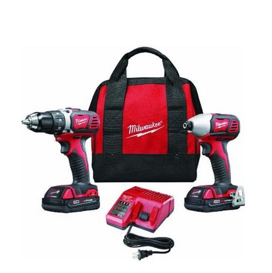Milwaukee 2691-22 M18 18-Volt Cordless Drill Combo Kit consists of 18-Volt Compact Drill and Impact Driver.