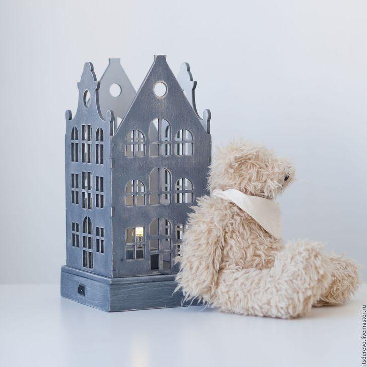 Купить Светильник-ночник - серый, ночник, светильник, дерево, из дерева, амстердам, голландия, дерево