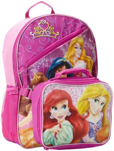 Fast Forward Little Girls Princess Full Size Backpack With Detachable Rectangular Lunch Kit PinkBlue one size >>> Click image for more details.