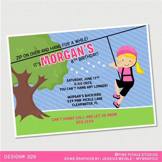 Zip Line Girl Birthday Invitation Or Thank By PinkPickleParties 1000