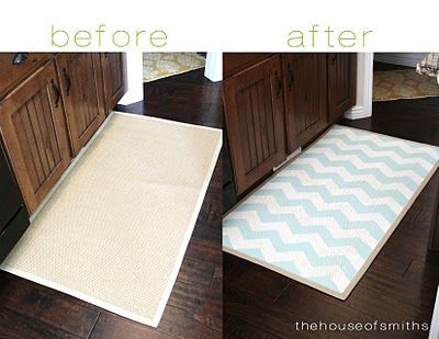 DIY chevron kitchen mat: Diy'S, Chevron Pattern, Diy Chevron, Diy Craft, Craft Ideas, Painted Rug, Chevron Rugs