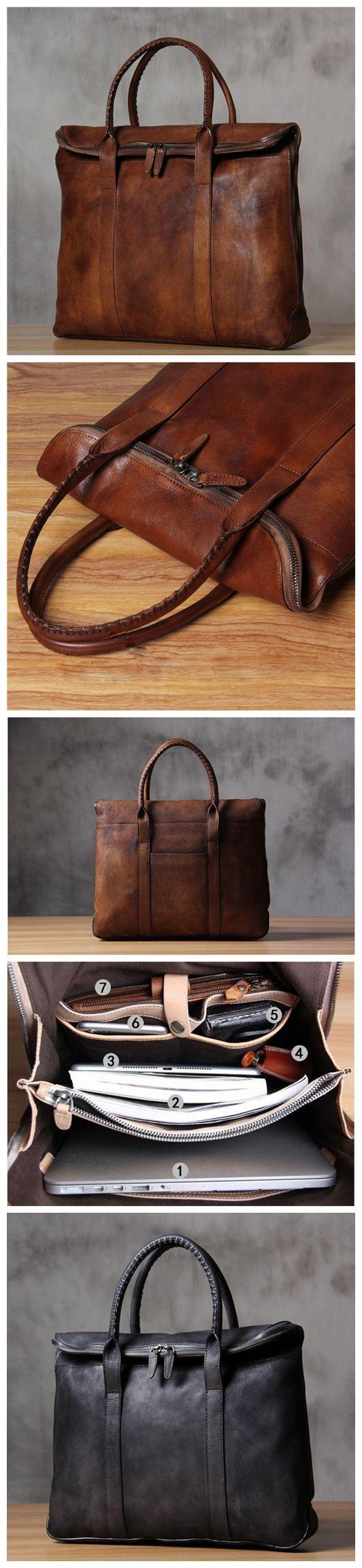ROCKCOW Italian Leather Men's Leather Laptop Bag Briefcase Messenger Bag 9069