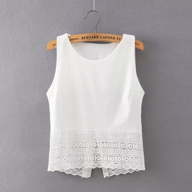 New Fashion women sweet lace blouses O neck back split sleeveless shirts stylish casual slim brand tops