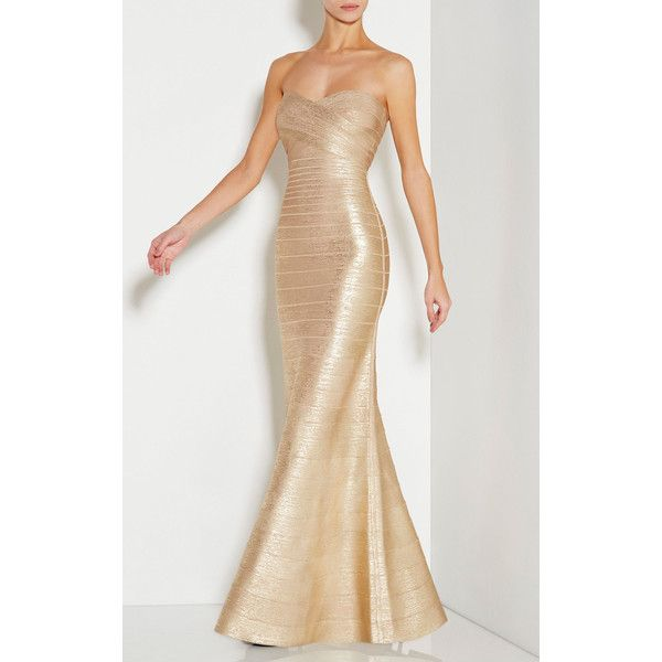 Herve Leger Sara Strapless Signature Bandage Gown (14 290 SEK) ❤ liked on Polyvore featuring dresses, gowns, gold, strapless dress, strapless evening dress, hervé léger, strapless gown and bandage dress