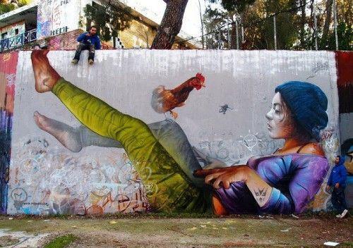 Street artists Peachey (Pichi) and Avo (Avo) from Spain