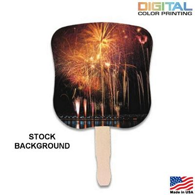 Promotional Stock Design Hand Fan: Fireworks Customized Ad Hand Fans/ #holidays #advertising #fans