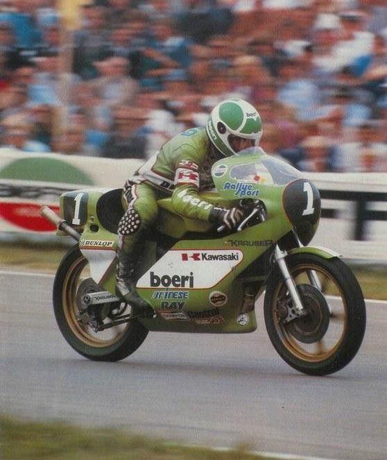 1981, Anton Mang on Kawasaki won both the 350cc and 250cc DutchGP on his way to win the both titles.