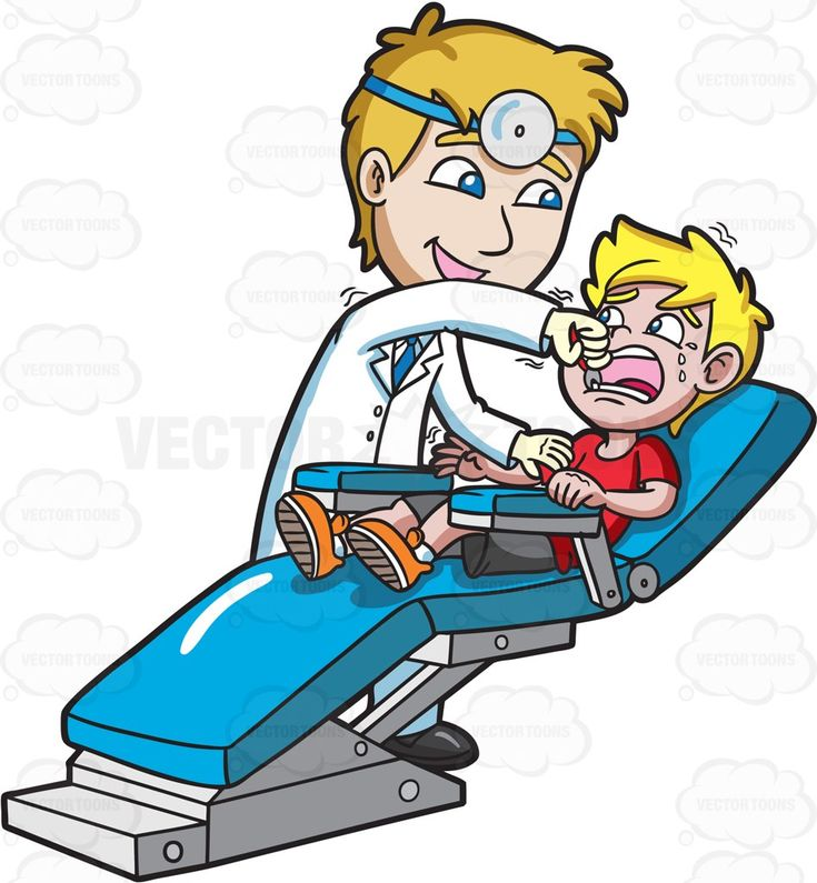 A dentist pulling out the tooth of a terrified boy #cartoon #clipart
