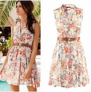 Free Shipping M/L/XL Size Brand Dresses New Fashion 2013 Summer Floral Print Chiffon Pleated Dress No belt Y265 US $15.99