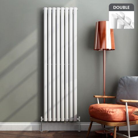 Ember Vertical Oval Tube Contemporary Gas Radiator in White 1600mm x 480mm - soak.com