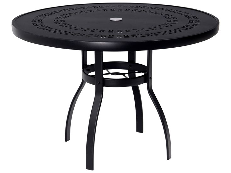 Woodard Deluxe Aluminum 42 Round Trellis Top Table with Umbrella Hole71 best Dining Alfresco   Outdoor Dining images on Pinterest  . Outdoor Dining Table No Umbrella Hole. Home Design Ideas
