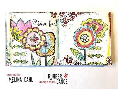 * Rubber Dance Blog *: Rubber Dance December Challenge Mixed Media Art Journal Page