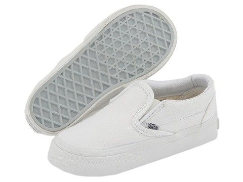 Vans Kids Classic Slip-On Core (Infant/Toddler) True White - Zappos.com Free Shipping BOTH Ways