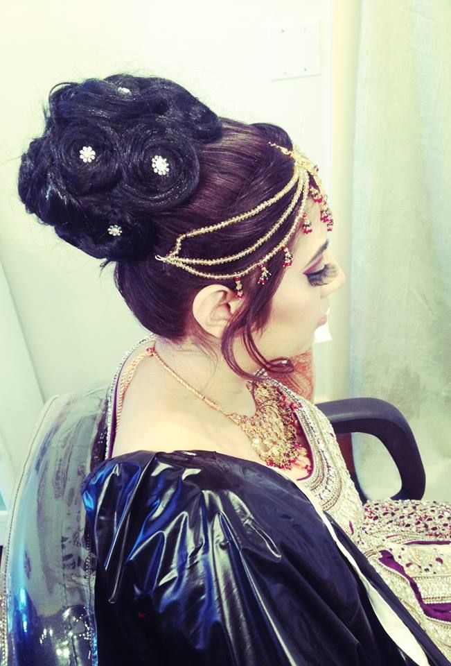 Bridal Hair Updo Created By Zara Beauty and Spa  #Indian #Pakistani #Hair #Beauty #Eyemakeup #Arabic #Indian #Pakistani #Beautiful #Dress #Pin #Like #Pinterest #Inspirational #Look #Hairstyles #Updos #Curls #Straight #Indian #Jewelry #Accessories
