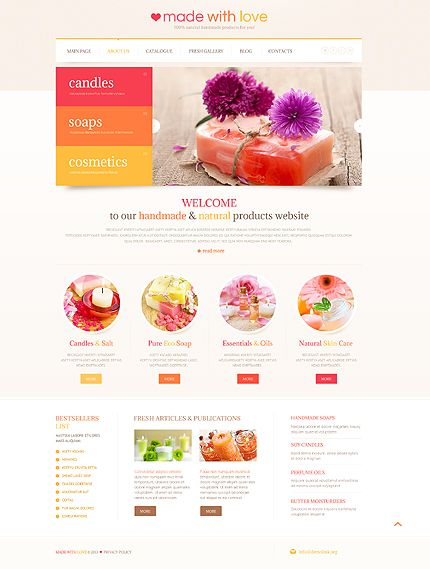 Template 45217 - Soaps and Candles Responsive WordPress Theme with  Bootstrap, Image Slider, Blog, Gallery and Admin Panel