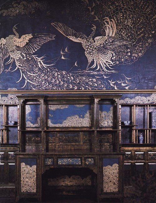 The Peacock Room, Freer House, Washington, painted by James Abbott McNeill Whistler--proof positive that hand-painting, not decal, is the way to go  on that still-unfinished bedroom wall...  (And I'm particularly loving the way that he's done the 'clouds'...  Food for thought.)