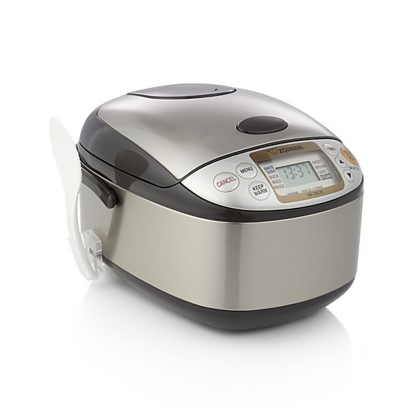 Developed in Japan at the original rice cooker factory, this state-of-the-art machine cooks perfect rice of all types. It also steams foods in the accompanying steamer basket, making porridge, cakes and more. Large LCD display includes clock and timer functions that allow you to pre-set cook times to suit your schedule.