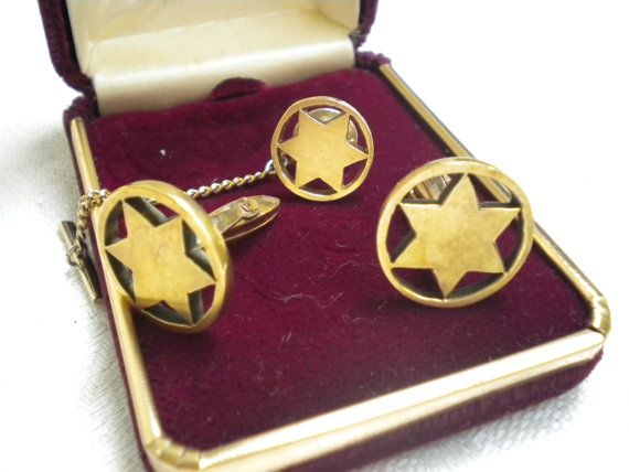 FATHERS DAY CUFF links and tie pin  14 kt gold by blingblingfling