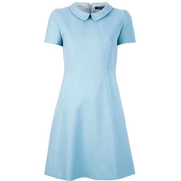 TARA JARMON Peter pan collar dress (€190) ❤ liked on Polyvore featuring dresses, vestidos, short dresses, day dresses, blue dress, flare dresses, blue mini dress, short-sleeve dresses and flare mini dress
