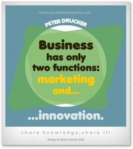 "Peter Drucker – ""Business has only two functions — marketing and innovation."""