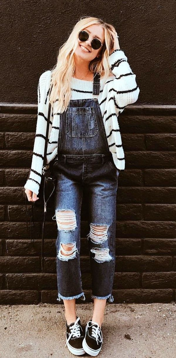 f779e5ed842  winter  outfits white and black striped off-shoulder sweatshirt with  distressed blue denim