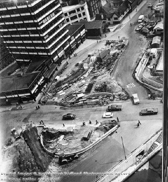 Construction of Underpass at Maid Marian Way, Nottingham, 1965
