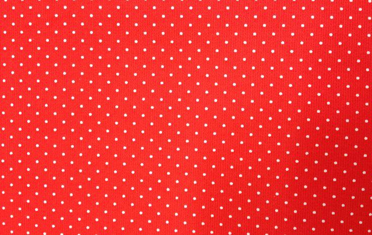 Tela Piqué de Canutillo con fondo Rojo y Microlunar Blanco