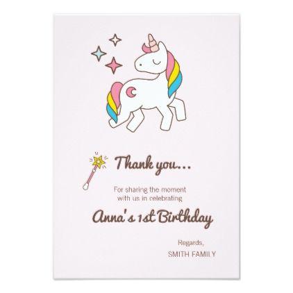 Birthday. Cute Unicorn with Cute Wand & Sparks Card - unicorn birthday diy gift idea present unicorns customize