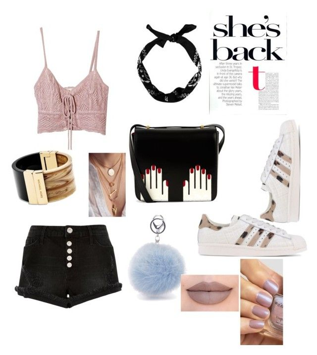 """coachella "" by mayapriskilla on Polyvore featuring River Island, Jens Pirate Booty, Lulu Guinness, adidas Originals, New Look, Michael Kors and Jeffree Star"