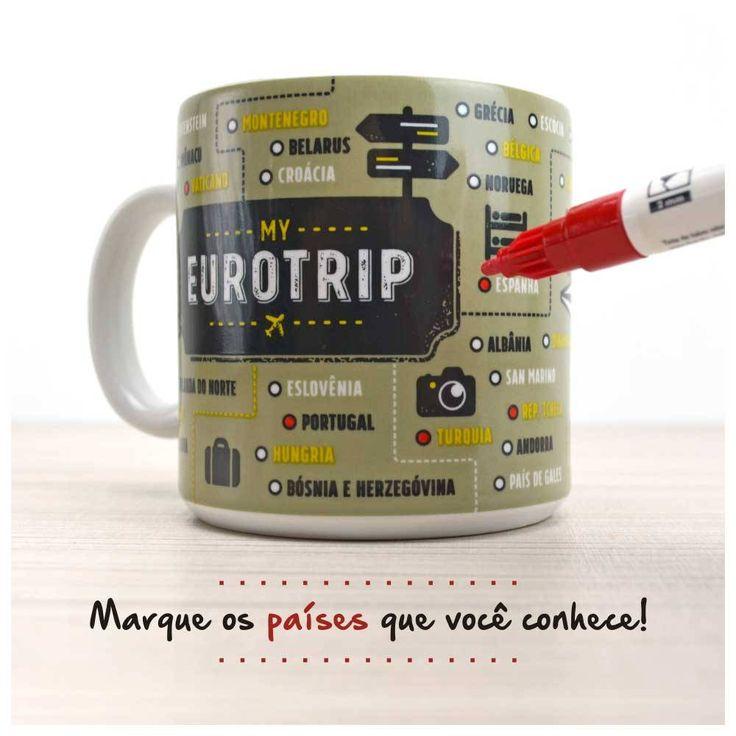 Marca os países europeus que você já visitou na Caneca Eurotrip